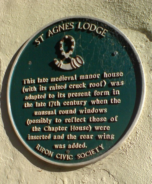 Plaque, St Agnes Lodge, High St Agnesgate