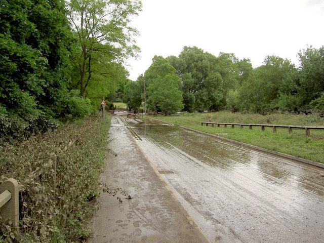River Dove overflowing Bradbury Balk Lane.