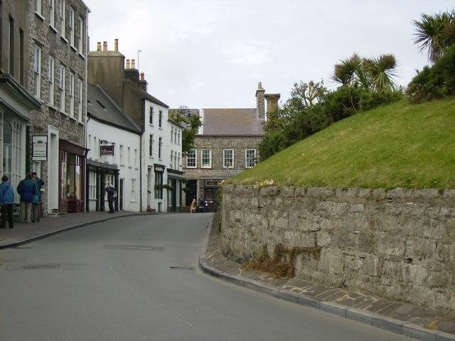 Street scene in Castletown below Castle Rushen