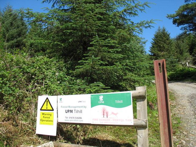 Entrance to the Mynydd Gwynfynydd Forest