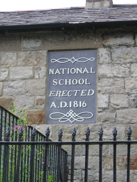 Plaque on the Former National School in Steeple Lane