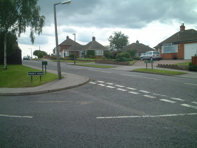 Junction of Priory Road and Windmill Road, Solihull Lodge