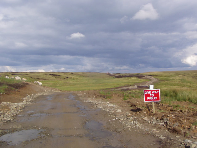 Wind farm access road crosses the Rossendale Way