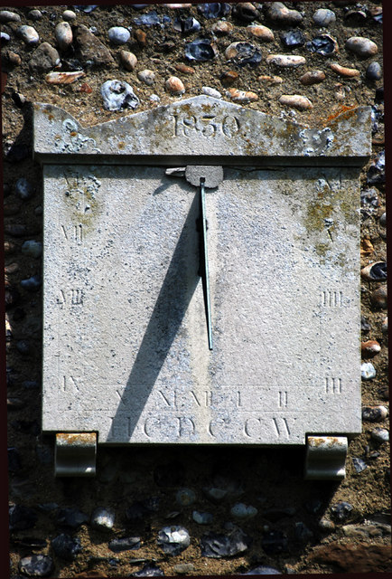 The sundial on the South wall of Chislet Church.