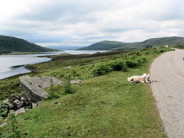 Road running west along Loch Naver