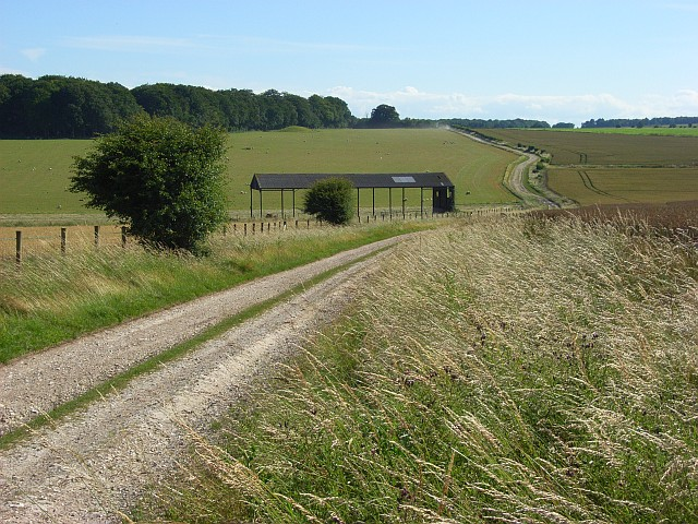 Byway and barn, Normanton Down