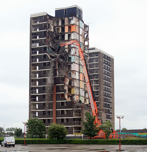 Demolition of flats, Croxteth, Liverpool