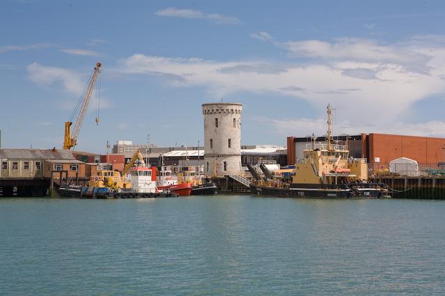 Circular stone tower in Portsmouth dockyard