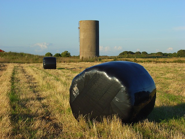 Bales and water tower near Stonehenge