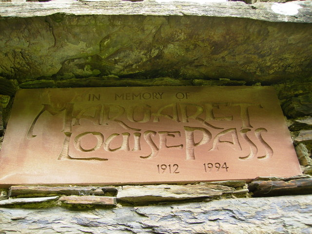 Plaque on preserved ruin of cottage in Glendhoo