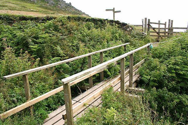 Malborough: footbridge over stream