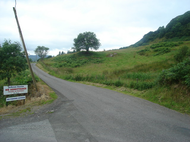 The Lerags road at the turnoff to Ardoran