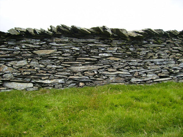 Dry slate and stone wall alongside Byway