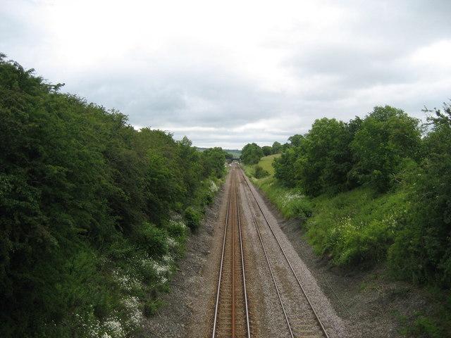 East from Moorber Lane Railway Bridge