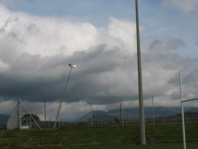 A slightly out of true floodlight mast at the Ysgol Brynrefail sports ground