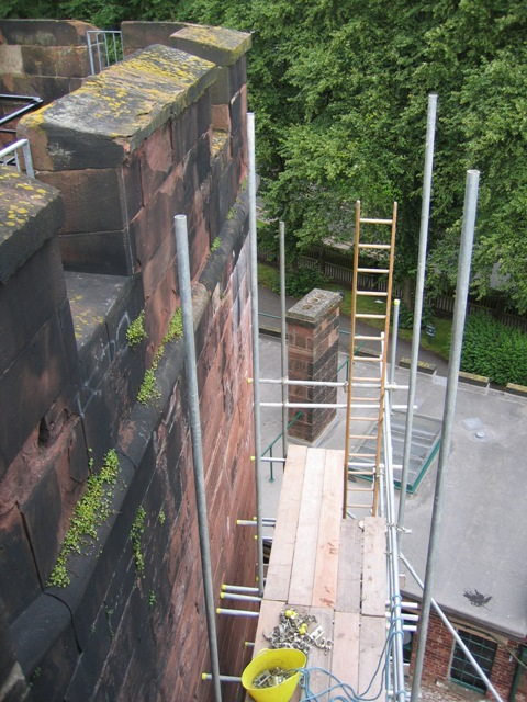Scaffolding on Chester Castle Wall