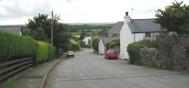 View down the main street at Rhiwlas