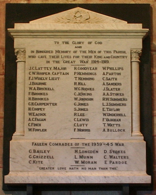 Powick Church War Memorial Plaque
