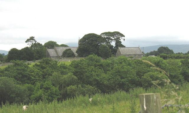 St Cedol Church and cemetery from Niwbwrch Farm
