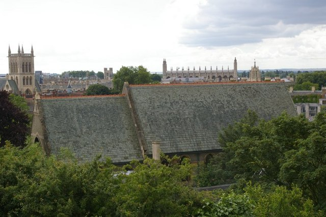 View from the top of Castle Mound, looking down on the roof of St Giles, and beyond
