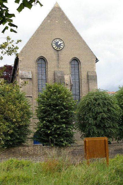 St Giles' church, from the garden of St Peter's Church opposite it
