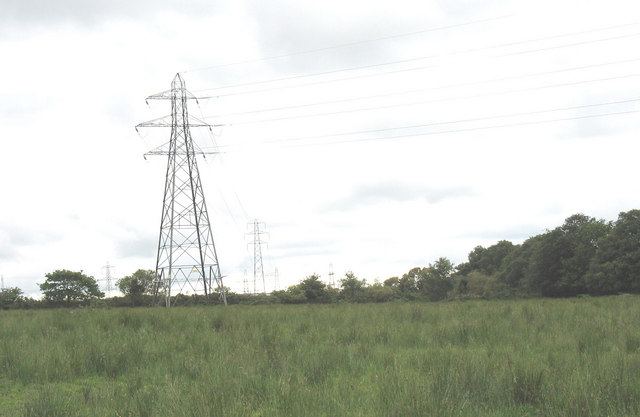 Power lines from Pentir Electricity Sub-Station