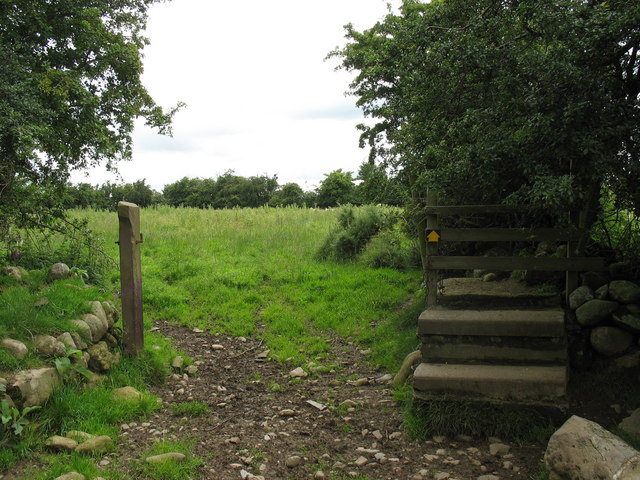 Disused concrete stile and open gate on footpath behind Ty-newydd