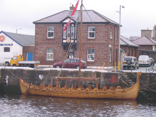 Peel Harbour and Viking ship