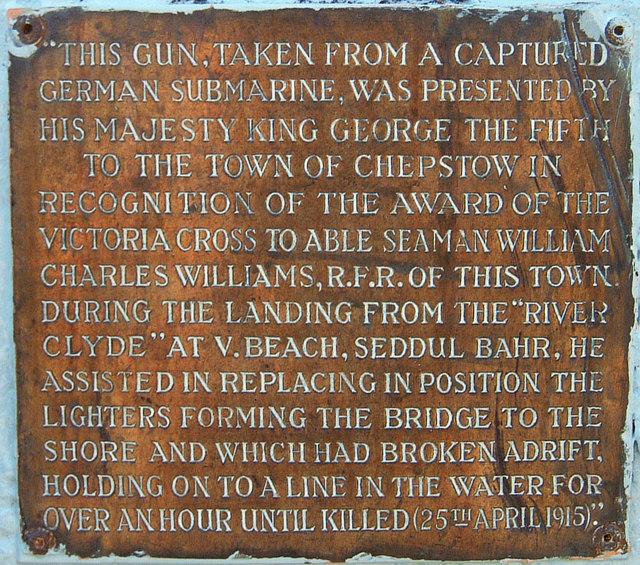 Plaque on Chepstow's captured gun