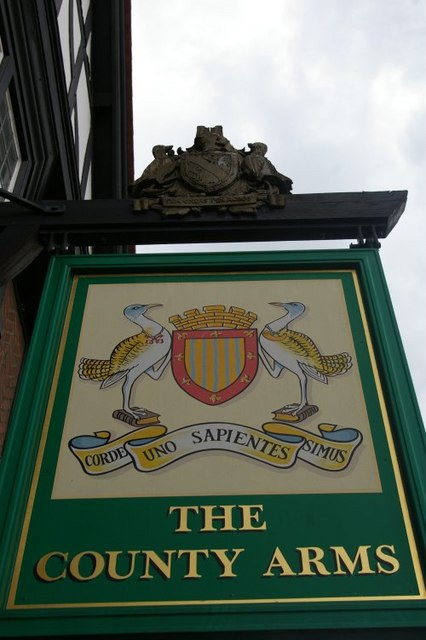 Sign at County Arms Public House