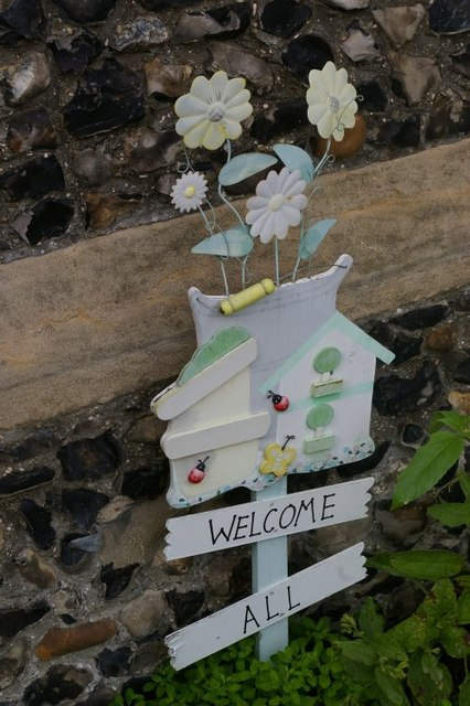 """Welcome to all"" sign, St John the Evangelist, Waterbeach"