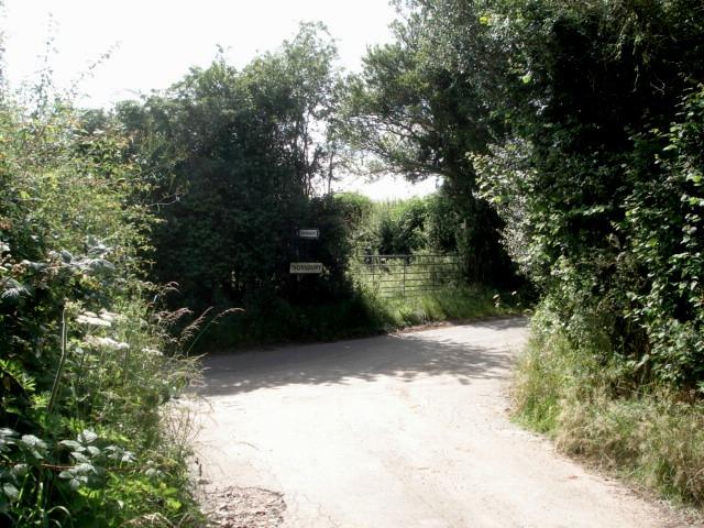 Junction of Kyrebatch Farm entrance road