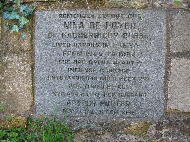 Memorial stone in Lamyatt churchyard.