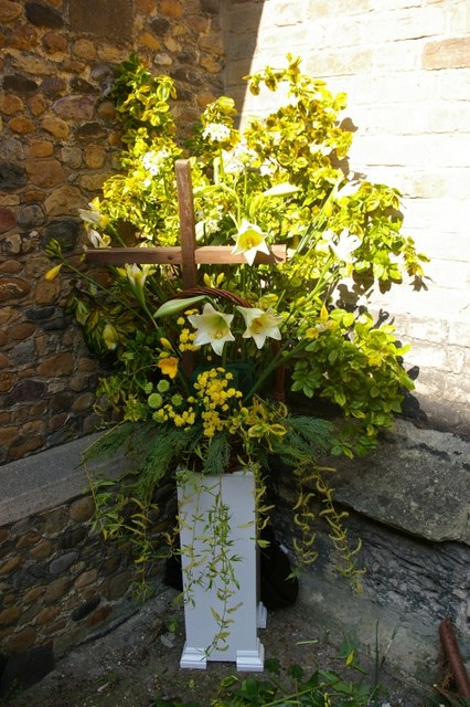 Flower arranging before Easter at Little St Mary's church