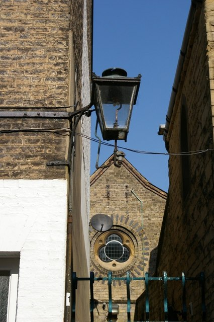 Lamp in Little St Mary's Lane, with Stuart House in background