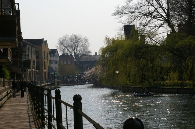 View along Riverside of the River Cam, with Magdalene College on the right