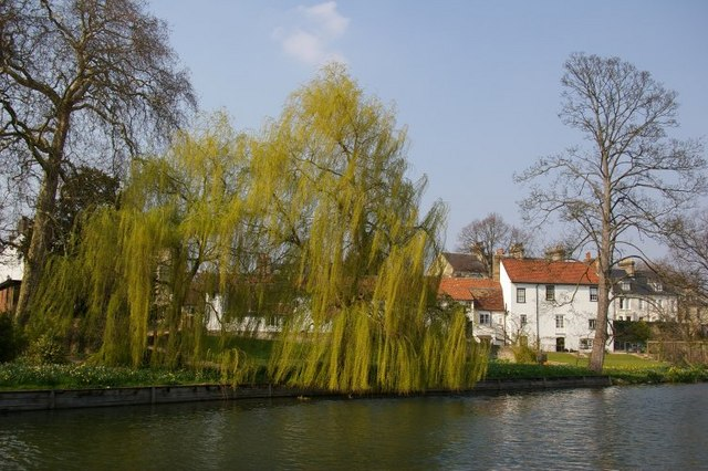 View from Riverside, across River Cam, to Chesterton Road