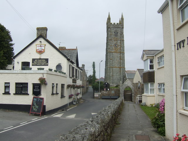 Church and pub; St. Columb Minor village centre