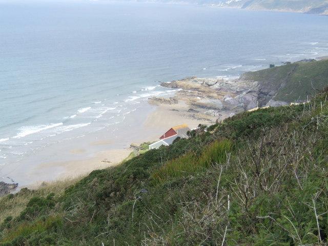 Freathy Cliff - view westwards