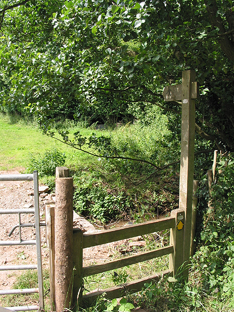 Footpath crosses the stream, Aston Ingham