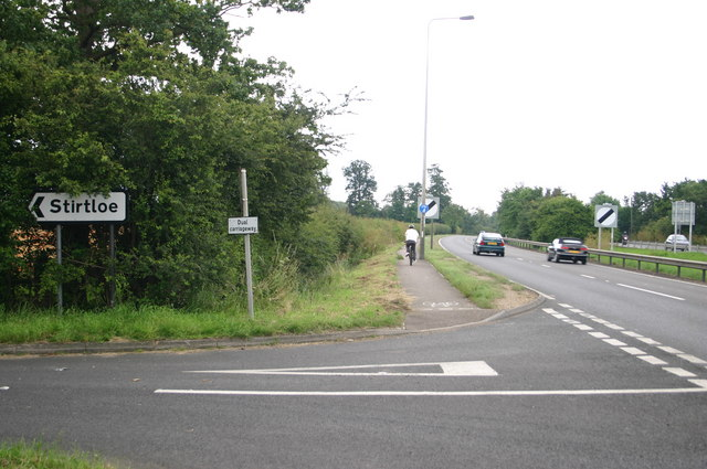 The Stirtloe junction with the Southbound A1
