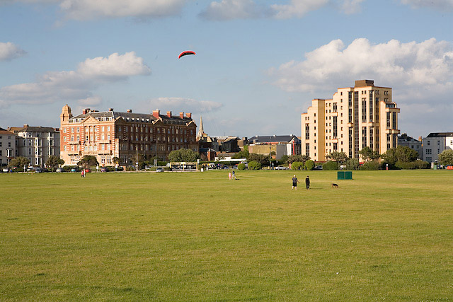 View across Southsea Common to the Queen's Hotel