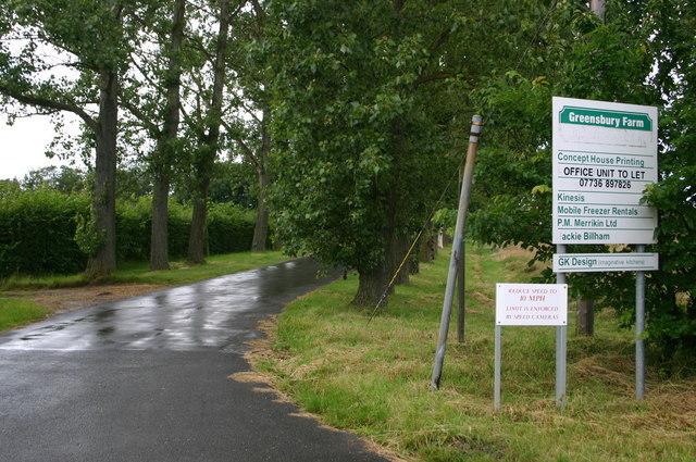 Entrance to Greensbury farm