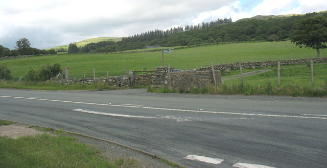 Improved pasture at Tyddyn-du Farm fringing the A470