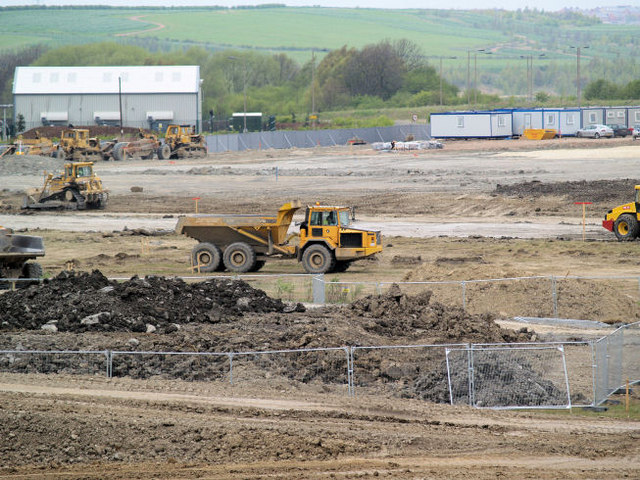 Earthmoving equipment on site of former Houghton Main Colliery.