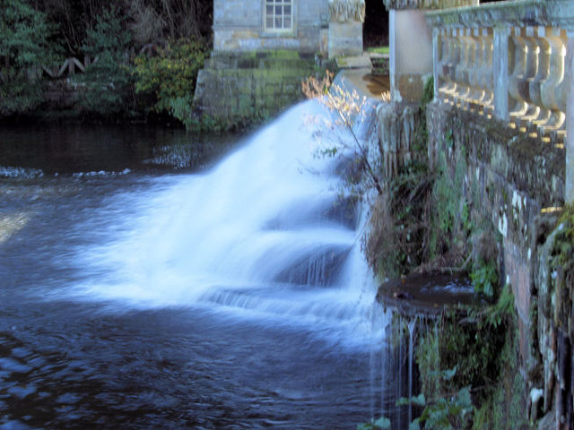 Weir at end of formal water gardens.