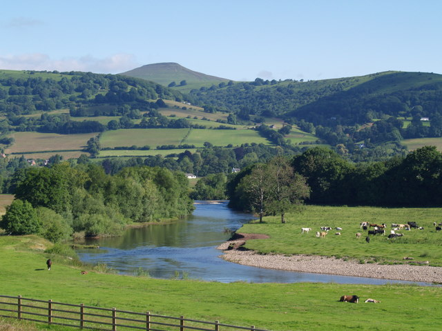 River Usk with Sugar Loaf  in background