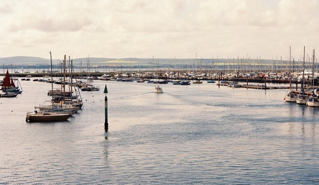 Looking down Lymington Harbour towards the Isle of Wight
