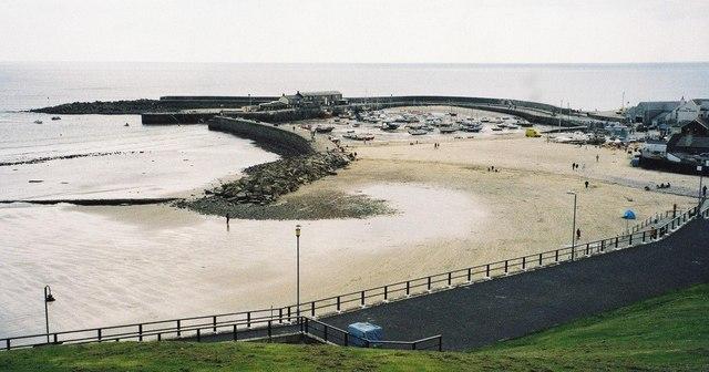 Lyme Regis harbour at low tide