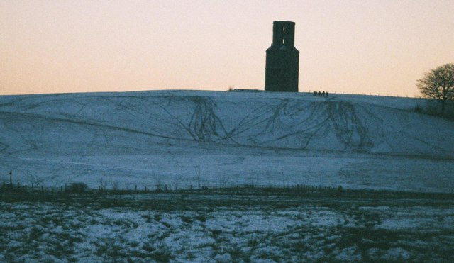 Horton Tower in snow at dusk